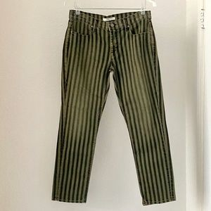 Fidelity Denim Striped Cropped Straight Jeans 29